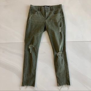 Express Ankle Legging Skinny Jeans Ripped Green